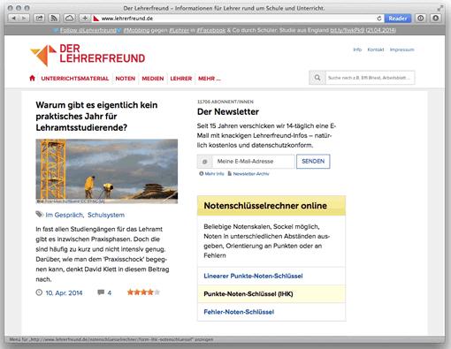 Screenshot Lehrerfreund, Startseite, 04/2014