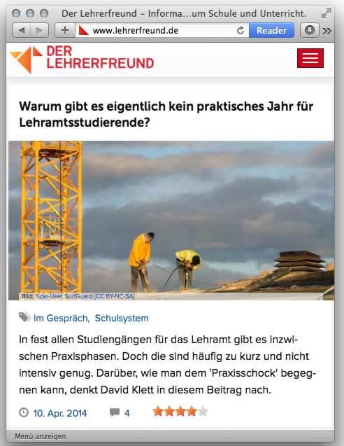 Screenshot Lehrerfreund, Mobilauflösung, 04/2014