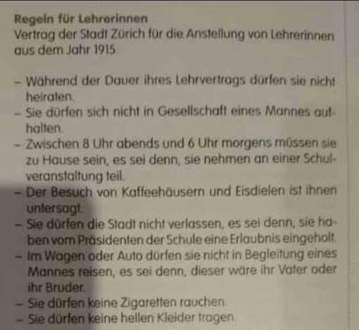 Vertrag zur Anstellung von Lehrerinnen (Zürich 1915)