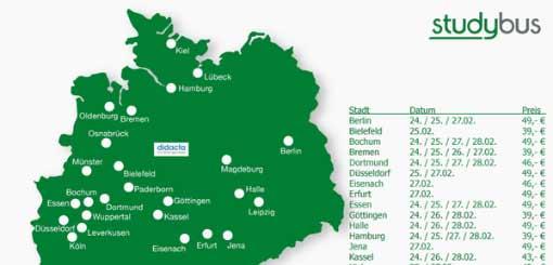 Deutschlandkarte mit Abfahrtsstationen von studybus zur didacta 2015