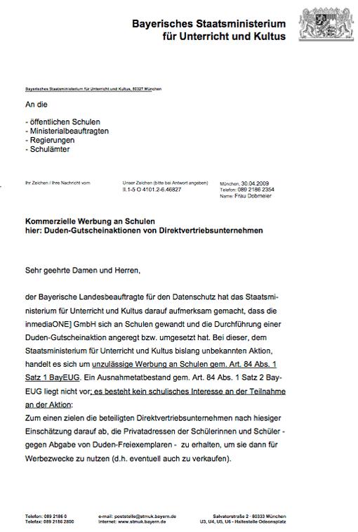 Ausschnitt: Schreiben des bayerischen Kultusministeriums wg. Duden-Gutscheinen