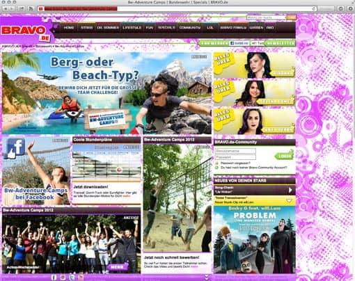 Screenshot: Bundeswehr-Werbung auf bravo.de