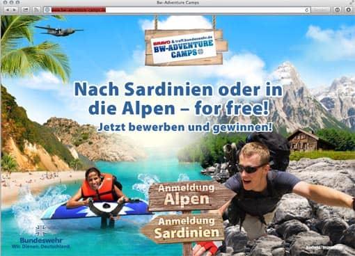 Screenshot: Bundeswehr-Kampagnenseite