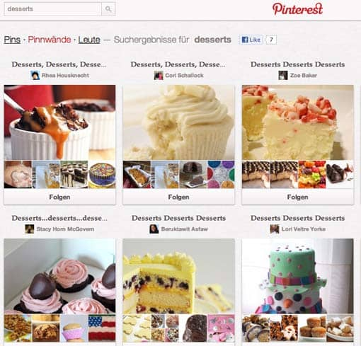 Screenshot: Pinterest: Pinnwände zum Thema 'Desserts'