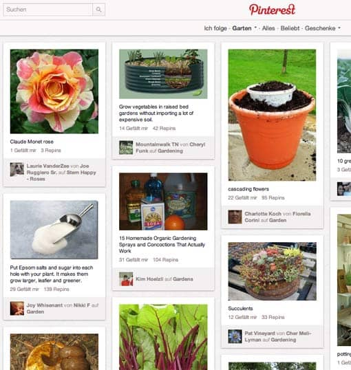 Screenshot: Kategorie 'Garten' bei Pinterest