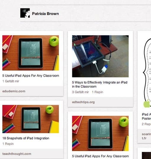 Screenshot: Pinterest-Board EDTECH von Patricia Brown