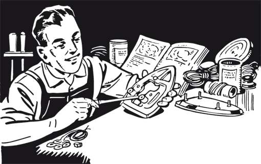 Retro-Grafik: Mann beim reparieren eines Bügeleisens