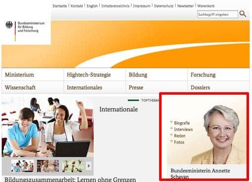 Screenshot: Bundesministerium für Bildung und Forschung mit Annette Schavan auf der Titelseite