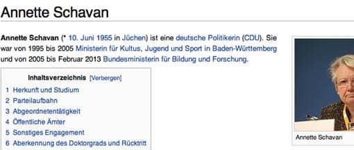 Wikipedia hat den Rücktritt Schavans schon rasch erfasst