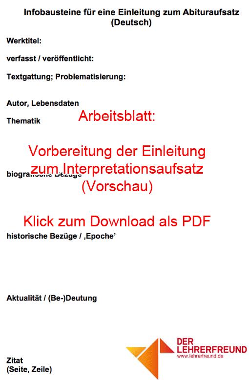 Vorschau: Arbeitsblatt 'Infobausteine für die Einleitung zum Interpretationsaufsatz'
