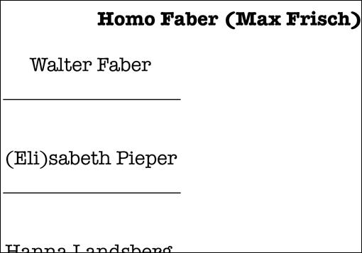 Vorschau: Arbeitsblatt zu Max Frischs 'Homo Faber'