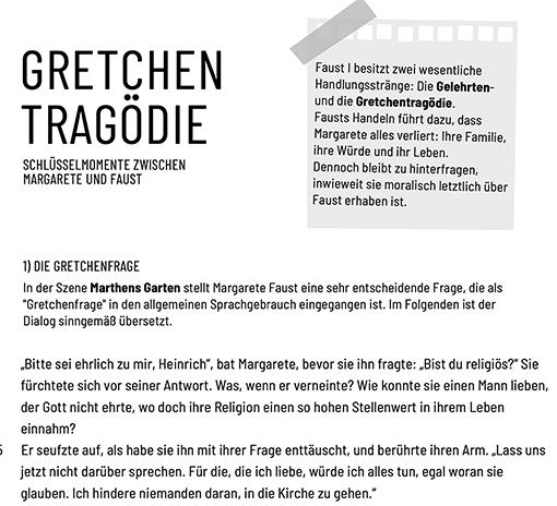 Ausschnitt: Arbeitsblatt »Faust: Gretchenfrage / Kerkerszene«
