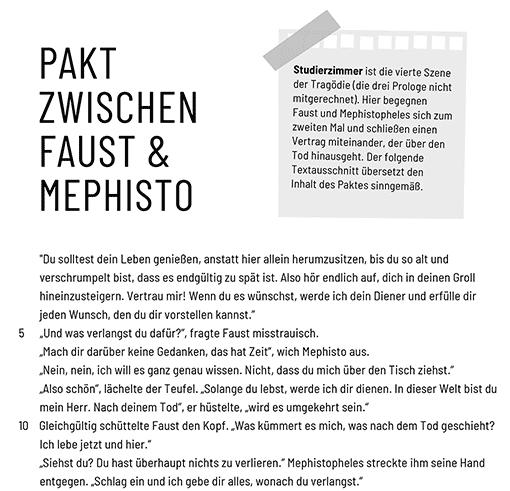 Ausschnitt: Arbeitsblatt »Pakt Faust - Mephisto« (Faust als Prosa)