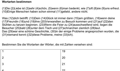 Vorschau: Arbeitsblatt »Wortarten bestimmen - Übungen«