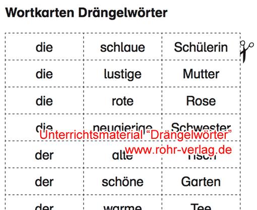 Vorschau: Wortkarten 'Drängelwörter'