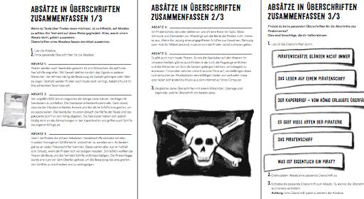 Vorschau: 3 Arbeitsblätter zur Lesekompetenz (Absätze / Überschriften)