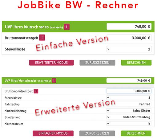 Screenshot: JobBike-BW-Rechner