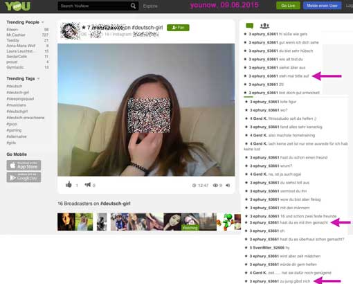 YouNow-Screenshot, Vorschaubild