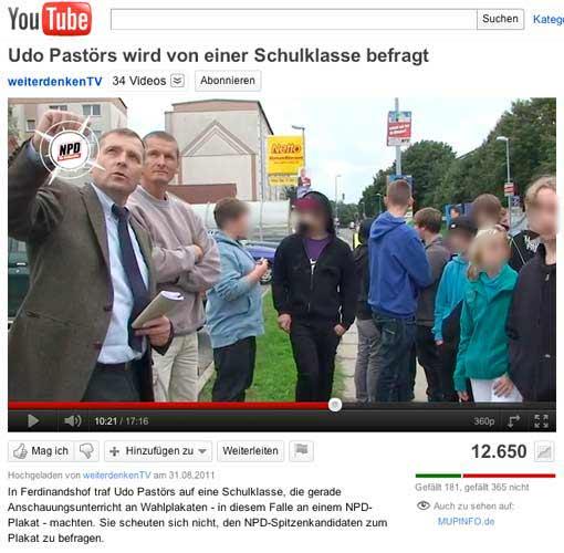 Udo Pastörs treibt ungebeten Wahlkampf vor einer Schulklasse - YouTube-Video