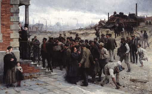 Vorschaubild - Gemälde: Der Streik (Robert Koehler, 1886)