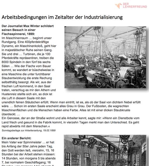 Ausschnitt: Arbeitsblatt 'Arbeitsbedingungen während der Industrialisierung'