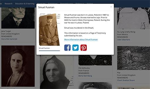 Zuweisung eines Holocaust-Opfers auf der IRemember-Wall