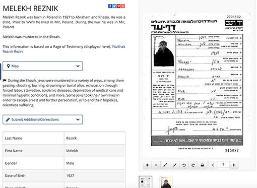 Steckbrief eines Holocaust-Opfers