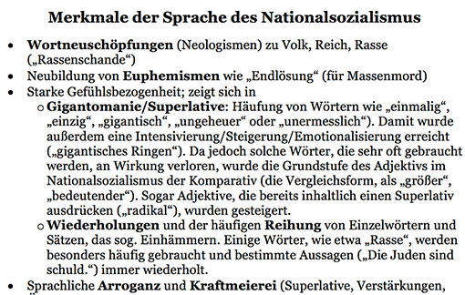 Ausschnitt: Arbeitsblatt »Merkmale der Sprache im Nationalsozialismus«