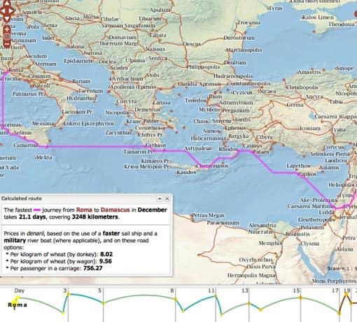 Orbis: Ergebnis einer Routenplanung