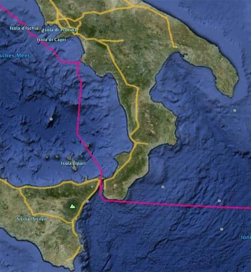 Orbis-Route in Google Earth (Ausschnitt)