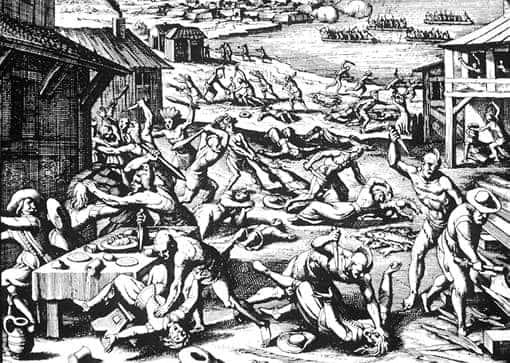 Indianer-Massaker an weißen Siedlern - Gemälde von 1628