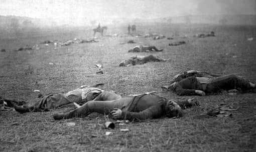 Tote auf dem Schlachtfeld von Gettysburg, 1863