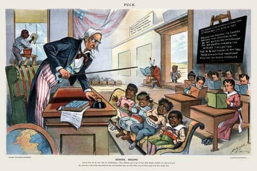 Vorschaubild: Karikatur zum USA-Imperialismus: School Begins (1899)