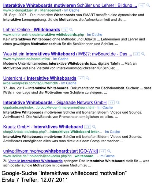 Google-Suche nach 'interaktives whiteboard motivation' - erste 7 Treffer (12.07.2011)