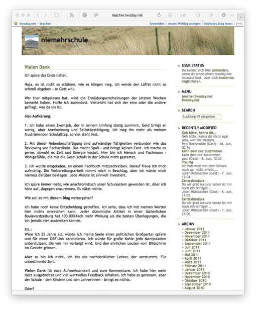 Screenshot: Lehrerblog niemehrschule (Vorschaubild)