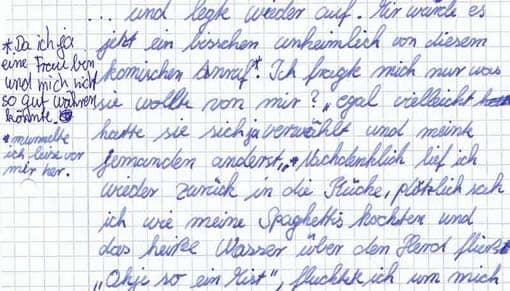 Beispielarbeit: Kreatives Schreiben (Auszug) ohne Korrekturhinweise