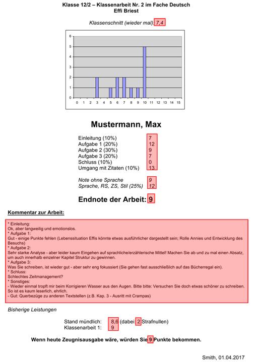 Rückmeldebogen für Schüler/innen mit Noten der Klassenarbeit, Kommentar zur Klassenarbeit, Leistungsstand usw.; automatisch eingefügte Daten über Serienbrieffunktion sind markiert (Vorschaubild)