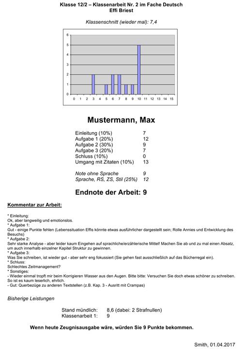 Rückmeldebogen für Schüler/innen mit Noten der Klassenarbeit, Kommentar zur Klassenarbeit, Leistungsstand usw. (Vorschaubild)