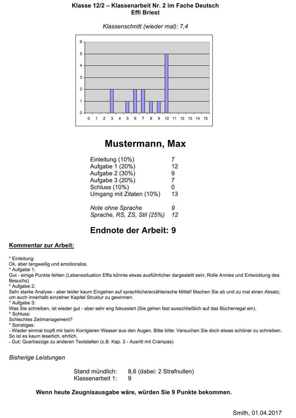 Rückmeldung zu Klassenarbeit + Leistungsstand mit ...