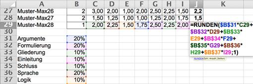 Excel-Screenshot: Bewertungskriterien prozentual gewichten = Endnote ausrechnen