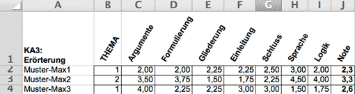 Korrektur mit Excel: In jeder Spalte ein Bewertungsbereich festhalten (Screenshot)