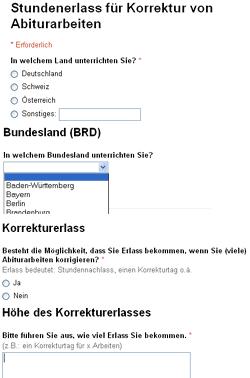 Umfrageformular Korrekturausgleich - Screenshot