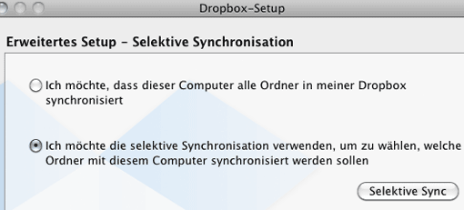 Screenshot: Dropbox - Selektive Synchronisation
