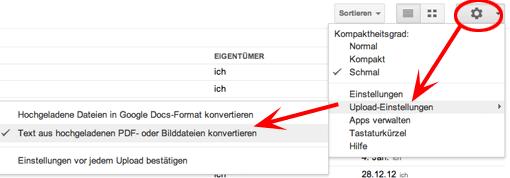 Einstellungen bei Google Drive treffen, um PDFs und Bilder automatisch mit OCR zu behandeln