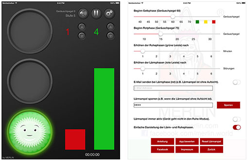 Lärmampel-App Merlin - Oberfläche, Einstellungsmöglichkeiten