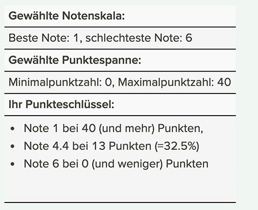 Screenshot: Ergebnis des Notenschlüsselrechners: Übersichtstabelle