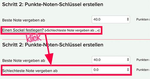 Screenshot: Notenschlüsselrechnerformular - Sockel einblenden