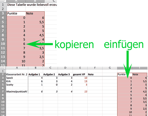 Notenschlüssel in die eigene Excel-Tabelle übernehmen