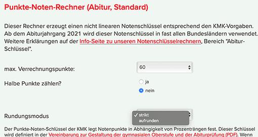 Rundungsmodus 'aufrunden' fuer Abiturschlüssel in BW/Baden-Württemberg