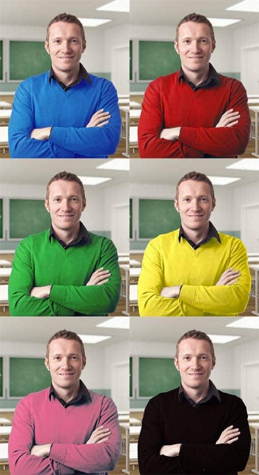 Lehrer mit Pulli in 6 unterschiedlichen Farben